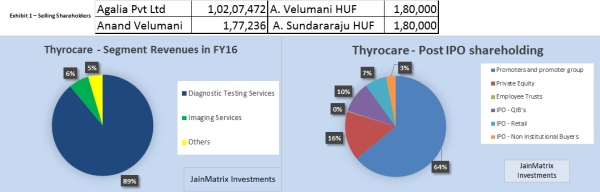 Fig 2a – Revenue Segments and Fig 2b – Shareholding Post IPO, JainMatrix Investments